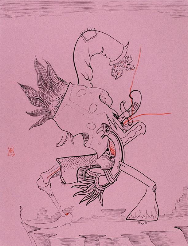 """<div align=""""left""""><p>   <p><em>Get Down</em>, 2007<br />     pen and ink on paper<br /> 24""""h. x 19""""w.   </div>"""