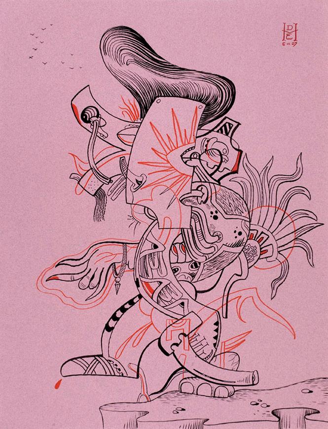 """<div align=""""left""""><p>   <p><em>Quiffzlcoatl</em>, 2007<br />     pen and ink on paper<br /> 24""""h. x 19""""w.   </div>"""