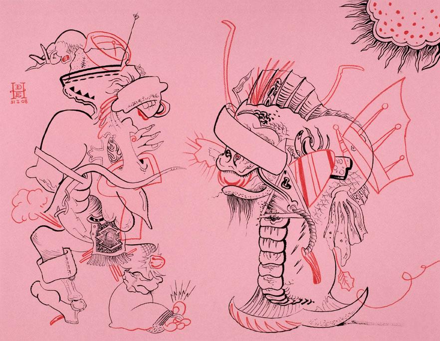 """<div align=""""left""""><p>   <p><em>Savage Hornpipe</em>, 2008<br />     pen and ink on paper<br /> 19""""h. x 24""""w.   </div>"""