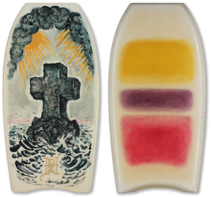 "<div align=""left""><p>   <p><em>Rocko (front & back)</em>, 2007<br />     oil, acrylic, etching, layered digital files & resin on wood<br /> 42""h. x 22""w. x 2.5""d.</p></div>"