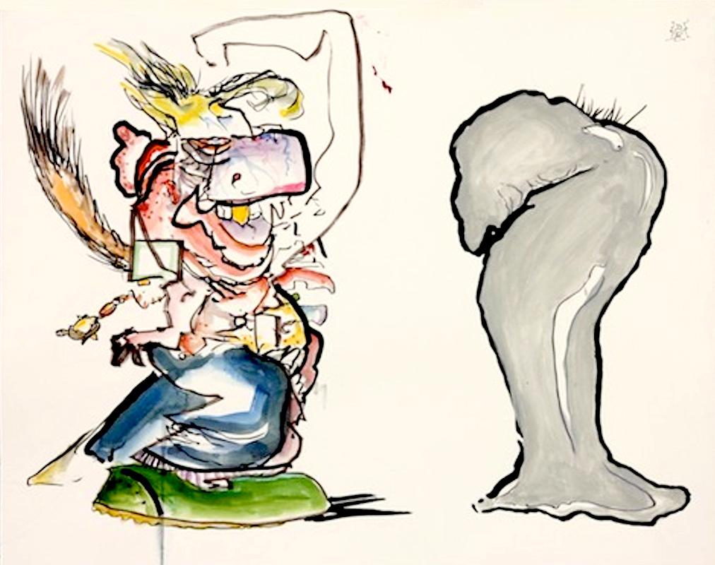"<div align=""left""><p>   <p><em>Jerry Lee Meets de Chirico</em>, 2016<br />     ink and acrylic on paper<br /> 11""h. x 17""w.   </div>"