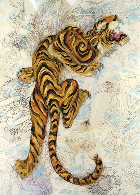 "<div align=""left""><p>   <p><em>Shattering Tiger</em>, 2010<br />     oil painting on resin and mylar<br /> 52""h. x 41""w.</p></div>"
