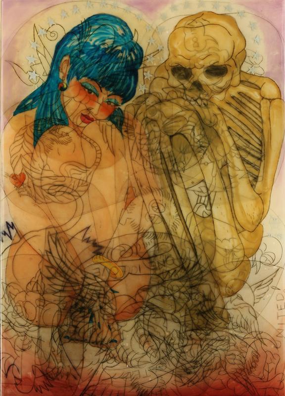 """<div align=""""left""""><p>   <p><em>Twins</em>, 2008<br />     oil painting on resin and mylar<br /> 41""""h. x 29""""w.</p></div>"""