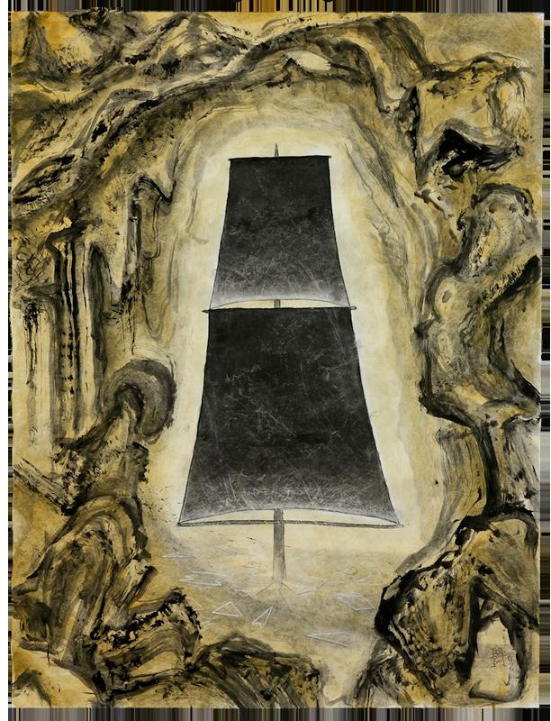 """<div align=""""left""""><p>   <p><em>Grotto</em>, 2014<br />     acrylic on Tyvek<br /> 34""""h. x 26""""w.</p></div>"""