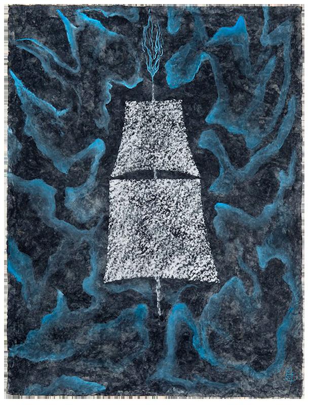 """<div align=""""left""""><p>   <p><em>Homeward Bound</em>, 2016<br />     acrylic on handmade paper<br /> 31 """"h. x 23 ¼""""w.</p></div>"""