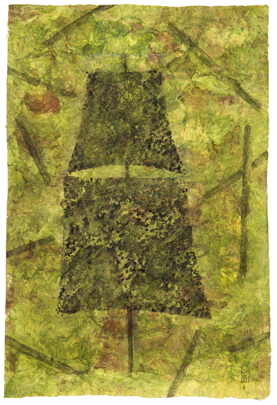 "<div align=""left""><p>   <p><em>On the Bottom</em>, 2016<br />     acrylic on handmade paper<br /> 23 ¼""h. x 15 ½""w.</p></div>"