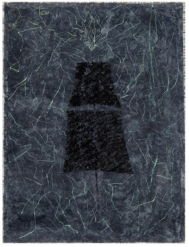 """<div align=""""left""""><p>   <p><em>Saint Elmo #2</em>, 2016<br />     acrylic on handmade paper<br /> 31 """"h. x 23 ¼""""w.</p></div>"""