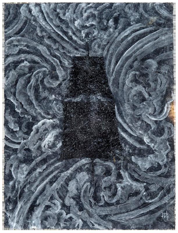 """<div align=""""left""""><p>   <p><em>The Tempest</em>, 2016<br />     acrylic on handmade paper<br /> 31 """"h. x 23 ¼""""w.</p></div>"""